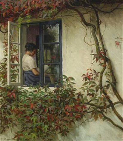 Karl Harald Alfred Broge (Danish, 1870–1955) A young woman at the windowsill, 1926, oil on canvas
