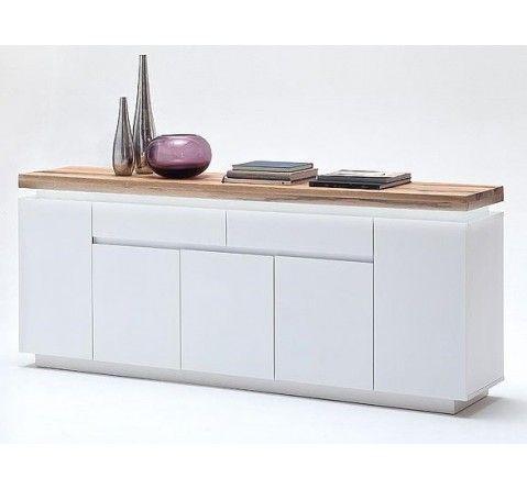 Buffet design blanc mat/bois 5 portes et 2 tiroirs à Led ...