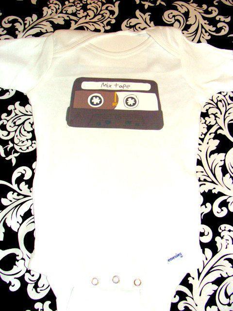 Old School Mix Tape Onesie, Great Baby Shower Gift. $15.99, via Etsy.