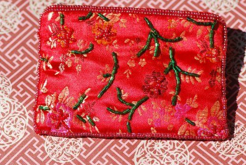 """Embroidered Flower Brocade Makeup Bags - Red by ChinaExposure. $6.95. With embroidered flower on brocade, these beautiful makeup bags are great for girls and ladies to carry small things. Available in a variety of colors.  Size 4.7"""" x 3.4"""""""