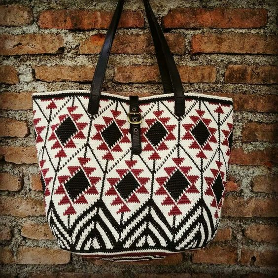 Tapestry crochet tote bag. Made from waxed cotton cord 1 mm.: