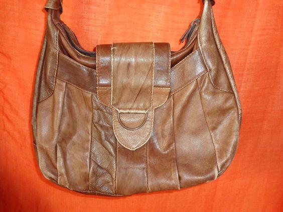 Vintage Handtaschen - Tasche*Vintage*braun*Leder*lässig*Beutel* - ein…