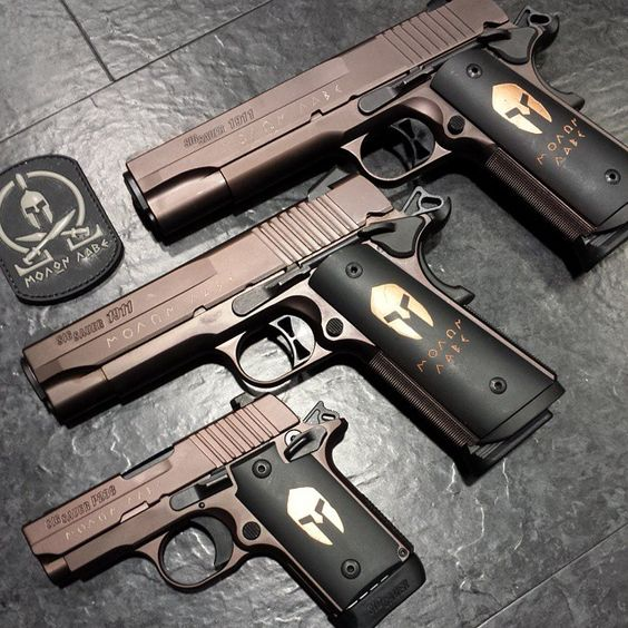 The SIG Spartan family: 1911 Spartan, 1911 Carry Spartan, P238 Spartan.