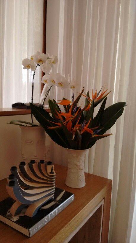 Arranjo de Strelitzias e Phalaenopsis brancas .