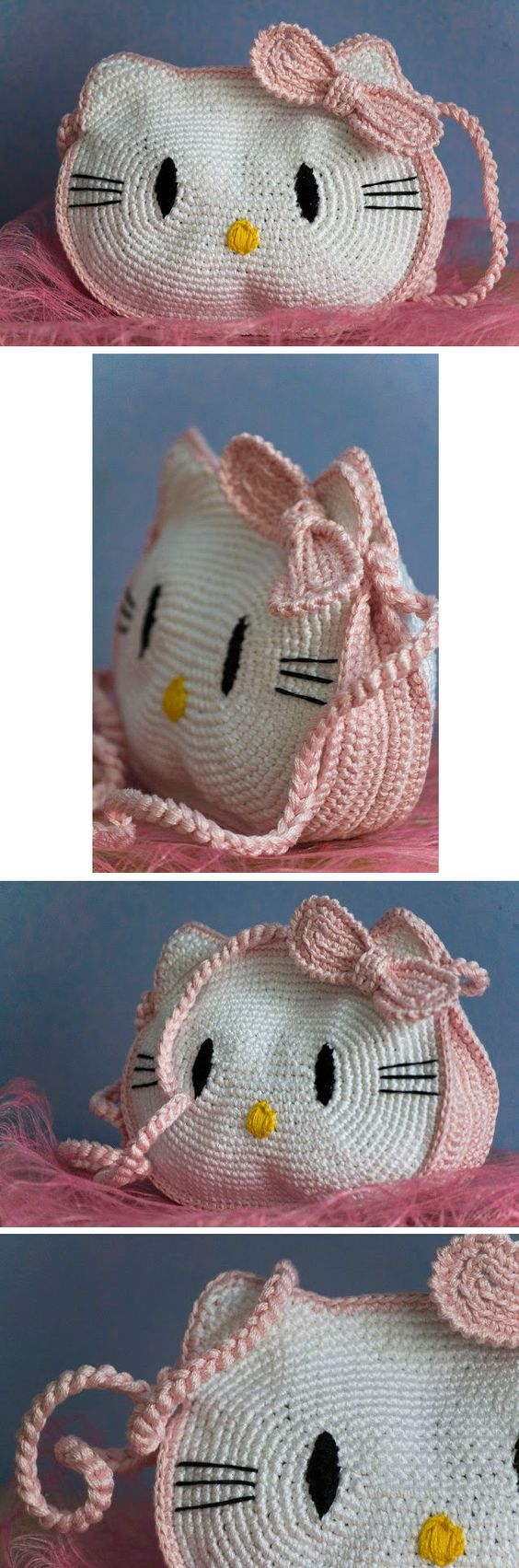 Hello Kitty bag - *Inspiration* It looks pretty easy if you break it down, 2 large ovals, add ears, sides and bow made in pink and all stitched together in the same pink with a pink strap. You could embroider on the facial features or glue on felt.