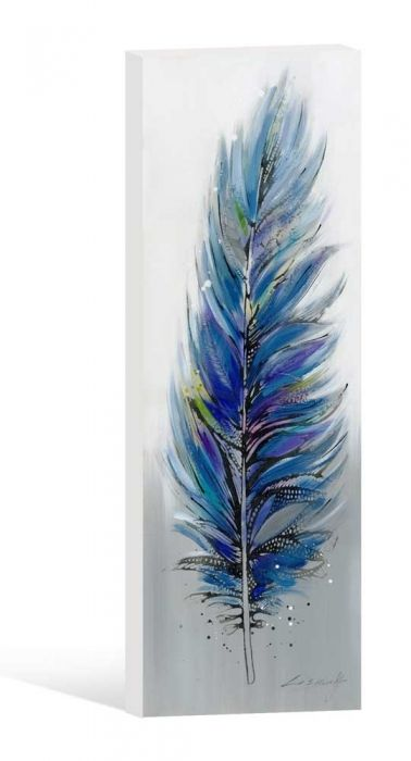 Blue Feather Oil Painting Dimensions: 150 x 50cm