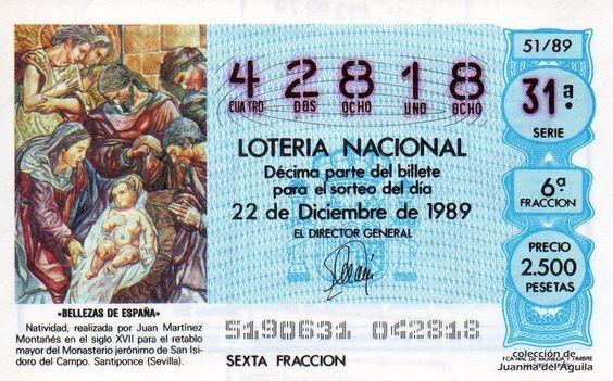 Décimo de Lotería de Navidad del año 1989 - «BELLEZAS DE ESPAÑA» - NATIVIDAD, REALIZADO POR JUAN MARTINEZ MONTAÑES (S. XVII)