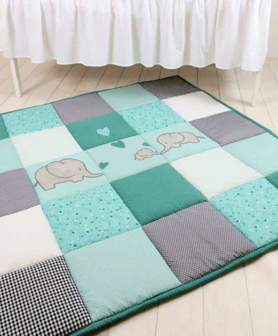 Baby Play Mat, Baby Mat , Baby Activity Mat, Elephant Baby Playmat, Playroom Decor, Mint Green, Teal Blue,  Gray - pinned by pin4etsy.com