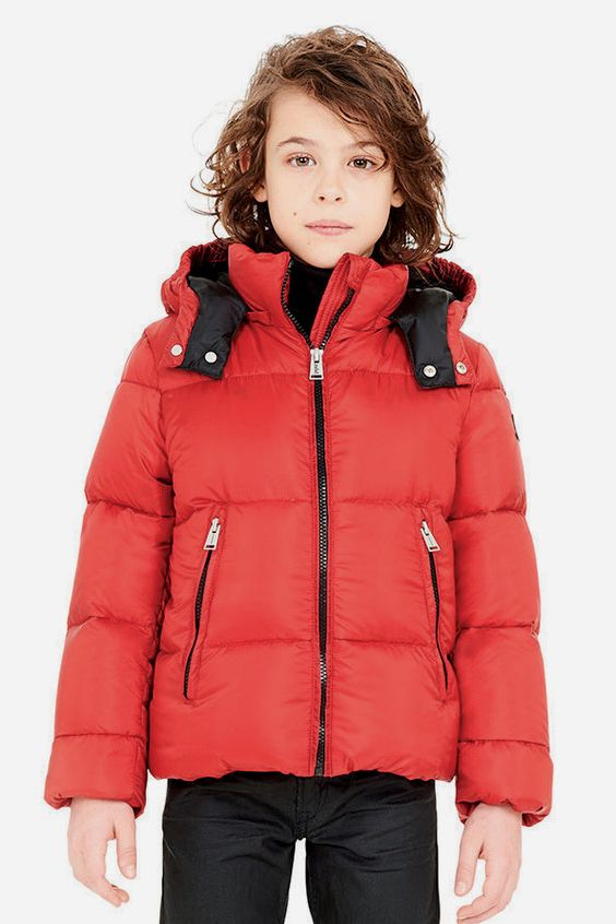 Fall Preview - ADD Down Boys Bicolor Down Jacket in Chili Red from ...