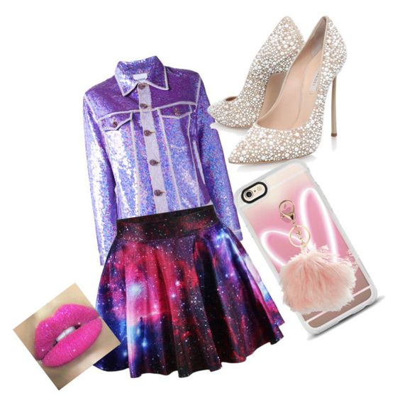 """""""Fashion galactic"""" by aliciaager on Polyvore featuring Ashish, Casadei, Casetify, Avenue and Glitter Pink"""