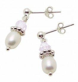 £14.95  Freshwater Pearls & White crystal Silver Earings