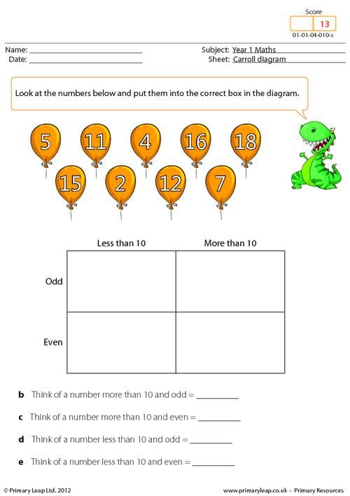 PrimaryLeapcouk Data Carroll diagram Worksheet – P3 Maths Worksheets