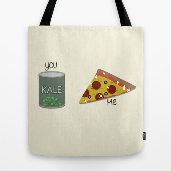 Kale VS Pizza Tote Bag by Discojellyfish - $22.00