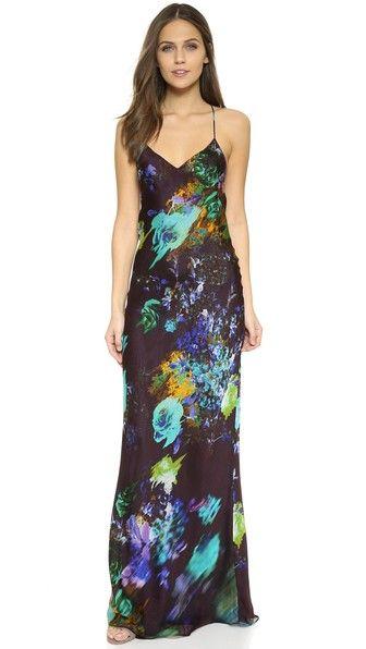 Mason by Michelle Mason Floral Print Bias Slip Dress