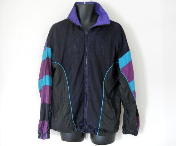 Men Windbreaker Jacket 80s Windbreaker 90s Windbreak Purple