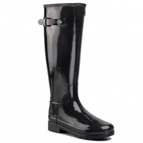 Kalosze Hunter Org Refined Wide Fit Bt Wft2004rgl Black Kalosze Kozaki I Inne Damskie Eobuwie Pl Boots Rain Boots Rubber Rain Boots
