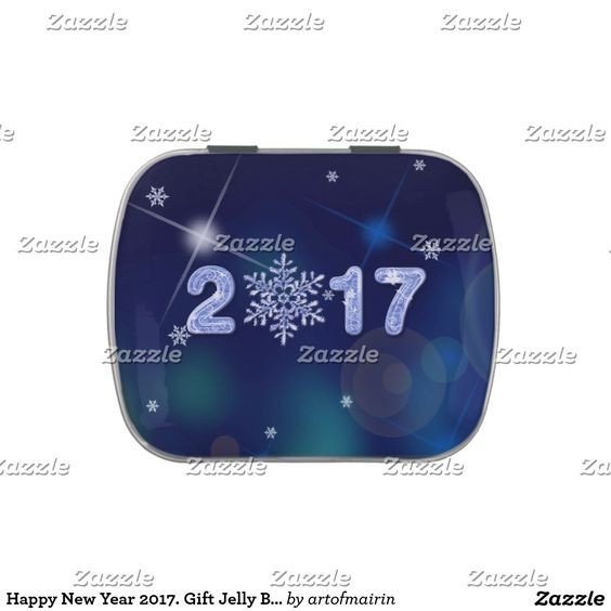 Happy New Year 2017. Snowflake design Tins with Jelly Belly™ Candy. Matching greeting cards, postage stamps and other products available in the Christmas & New Year Category of the artofmairin store at zazzle.com