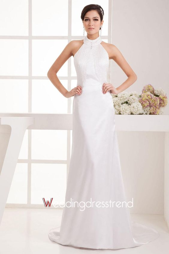 Ruched Draped Backless Wedding Dress With Sweep Train http://www.weddingdresstrend.com/en/ruched-draped-backless-split-front-wedding-dress-with-sweep-train.html #Wedding #dress