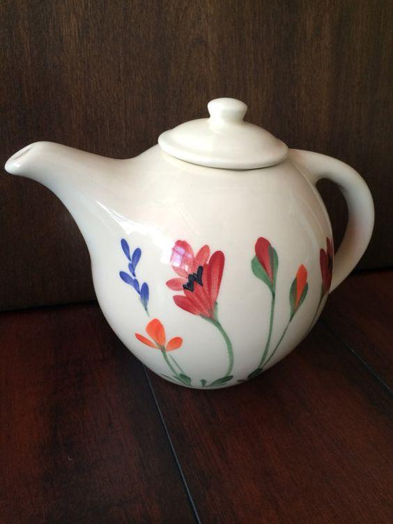 Emerson Creek Pottery Teapot, Porcelain Teapot, Floral Teapot, 4 Cup Teapot, White Teapot, Rounded Teapot, Hand Painted Teapot
