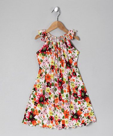 Take a look at this White & Orange Floral Angel-Sleeve Dress - Toddler & Girls by Times Two on #zulily today!
