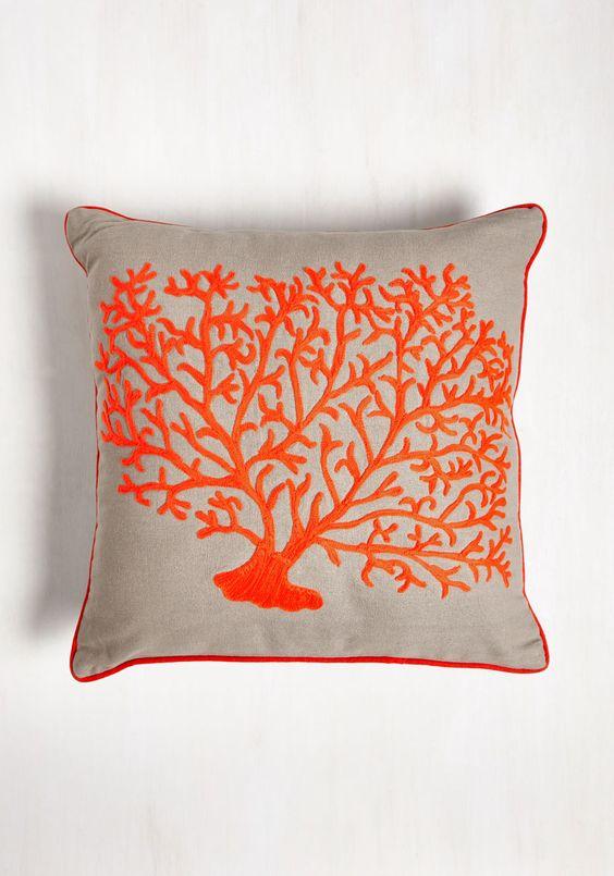 coral print pillow