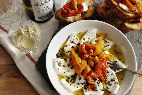 Fresh Mozzarella + roasted peppers.: