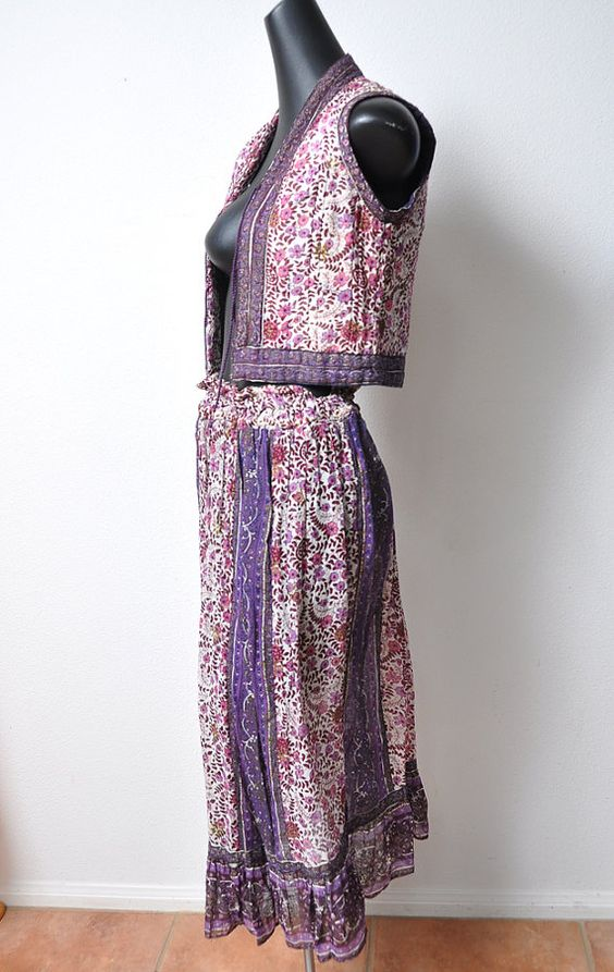 Vintage Lurex Gauze Sheer Cotton 2 Piece Dreamy 1970s skirt & vest  sold