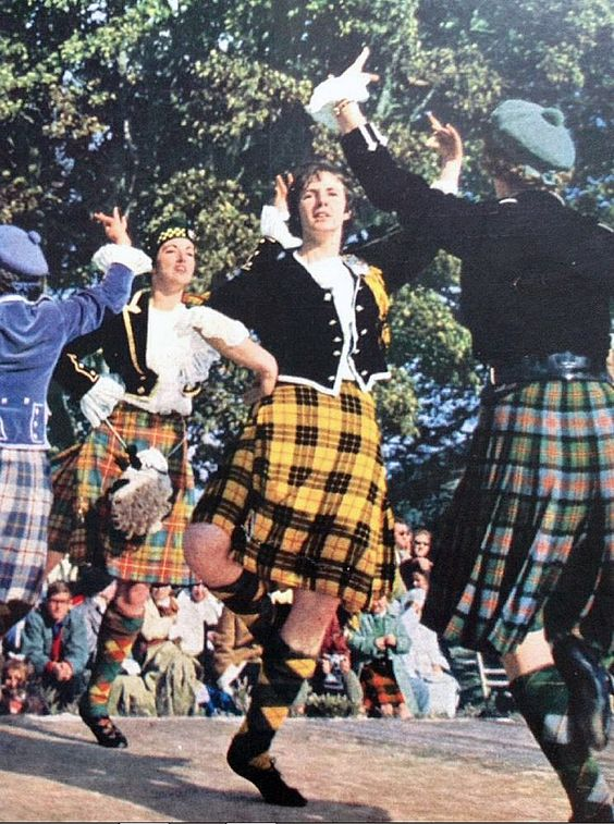 1964 Picture Highland Dancing Portree Skye.  Catriona Buchanan in the green facing camera and probably the dancer on the right with her back to the camera is Mary McIntosh from Dingwall.