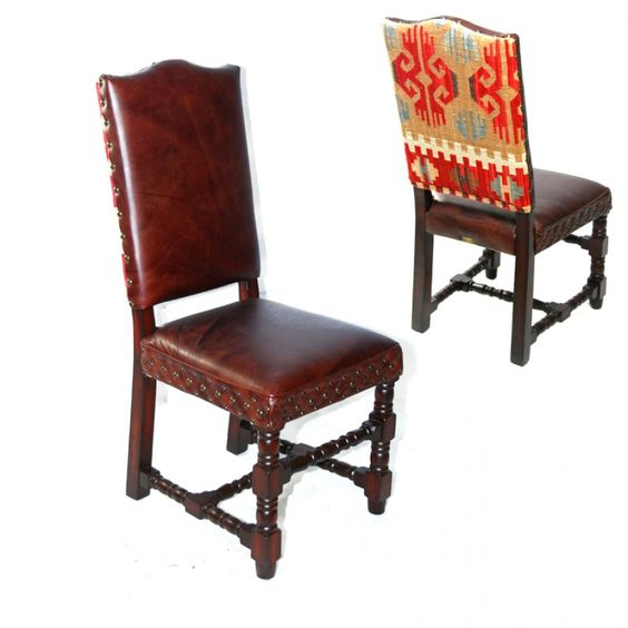 Kilim & Leather Side Chair, Kilim Side Chair, Kilim