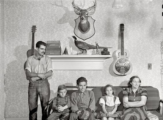 August 1941. The family of Gottlieb Zahler in their new farm in Lacona, New York, to which they moved from the Pine Camp relocation area.