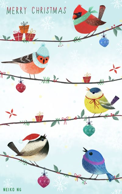 dessin oiseaux de noel: