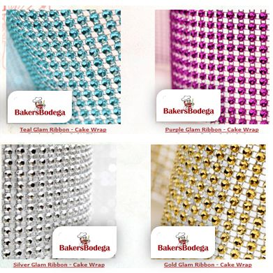 Find Glam Ribbon add BLING to you Cake  available in 1 Yard here at #BAKERSBODEGA