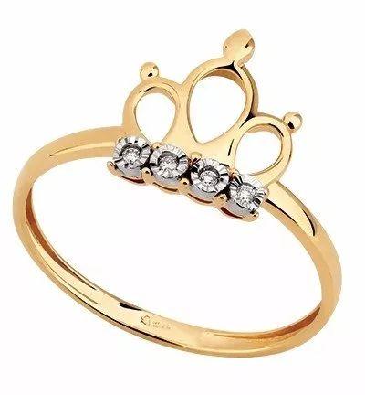 anel coroa vazada em ouro 18k com diamantes - 5210