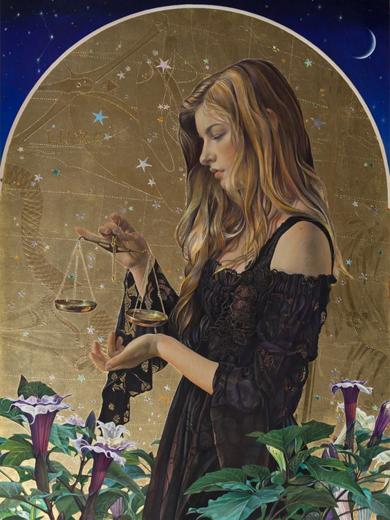 Libra, Tempera with Gold, Silver and Palladium Leaf, 24'' x 18''