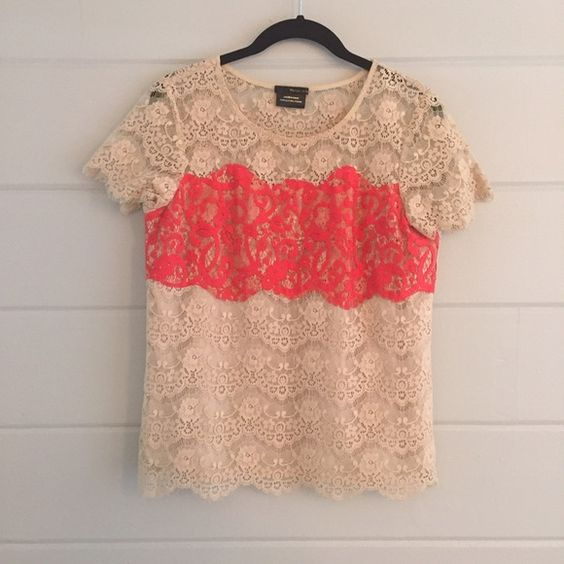 Anthropologie Lace Blouse Front is lined from bust to hem. Back is unlined. So beautiful and delicate!  Has been worn, but no flaws. PayPal or Trades. Price is firm unless bundled! Bundles are discounted automatically thru Posh! Anthropologie Tops Blouses