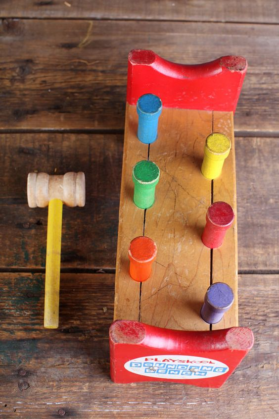 Vintage Wooden Playskool Pounding Bench Toys Remember
