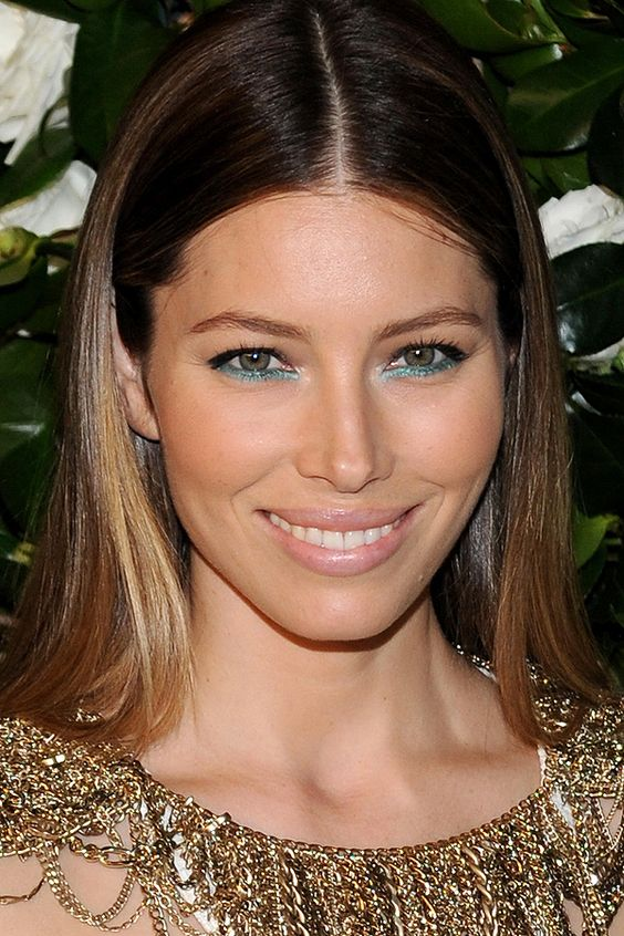 Yes, you CAN wear teal under-eye liner in the wintertime! Let's get schooled by Jessica Biel: http://beautyeditor.ca/2013/11/27/jessica-biel-makeup/: