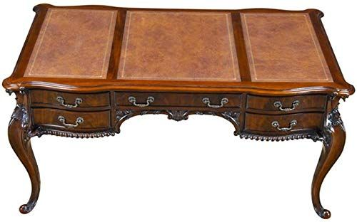 Euroluxhome Desk French Chippendale Panelled Top Faux Drawers