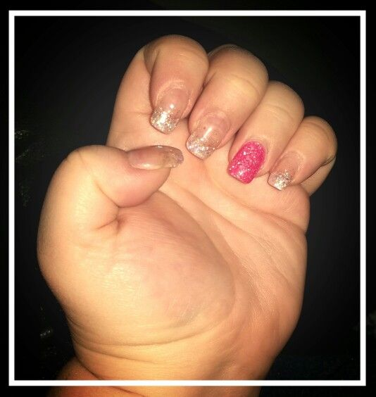 Silver & accent pink solar nails