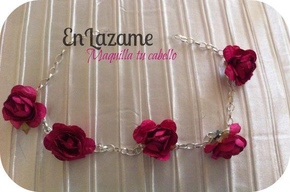 vincha de flores con cadena color: fucsia https://www.facebook.com/en.lazame.5