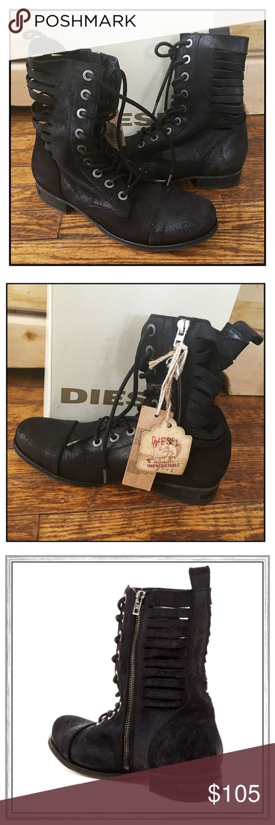 """✨Diesel """"The Wildland"""" Boots✨ Diesel """"The Wildland"""" Lace-Up Boots With Cut-Out Shaft Detail✨Side Zip Closure With Stacked Heel✨Approx 8"""" Shaft Height And Approx 1"""" Heel✨Round Cap Toe And Soft, Broken-In Leather✨Beautiful Boots By Diesel✨NWT✨Size 7.5✨ Diesel Shoes Lace Up Boots"""