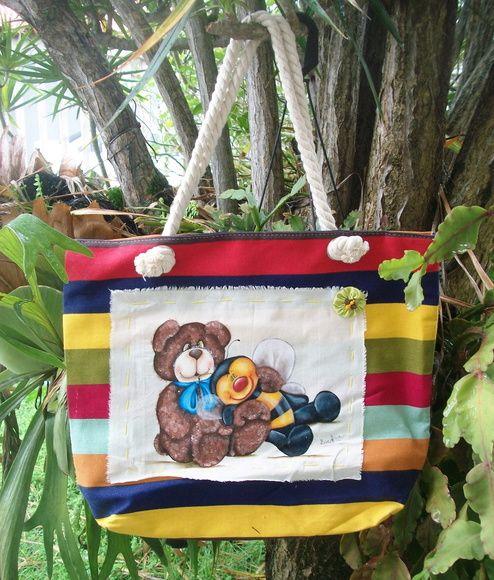 Bolsa em tecido de algodão, com forro, pintada à mão. R$ 35,00