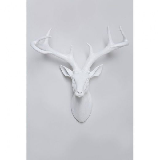 Deer Stag Deco Head Wall Art White | Hurn and Hurn