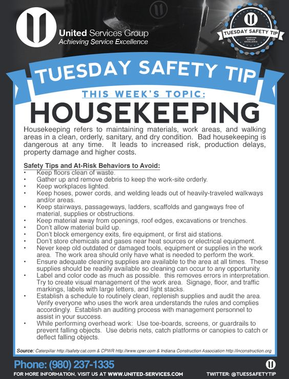 This week's Tuesday Safety Tip is about the Housekeeping