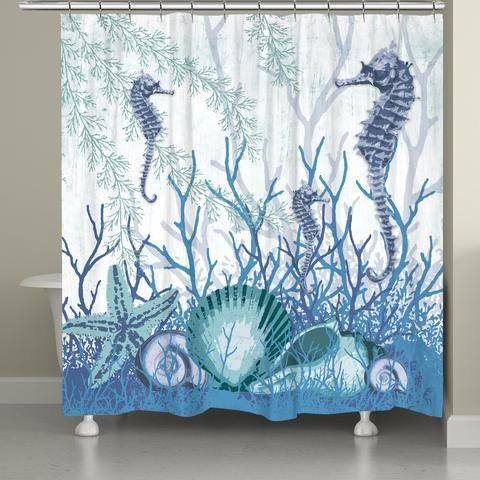 Laural Home Coral Maritime Shower Curtain Laural Home Bathroom