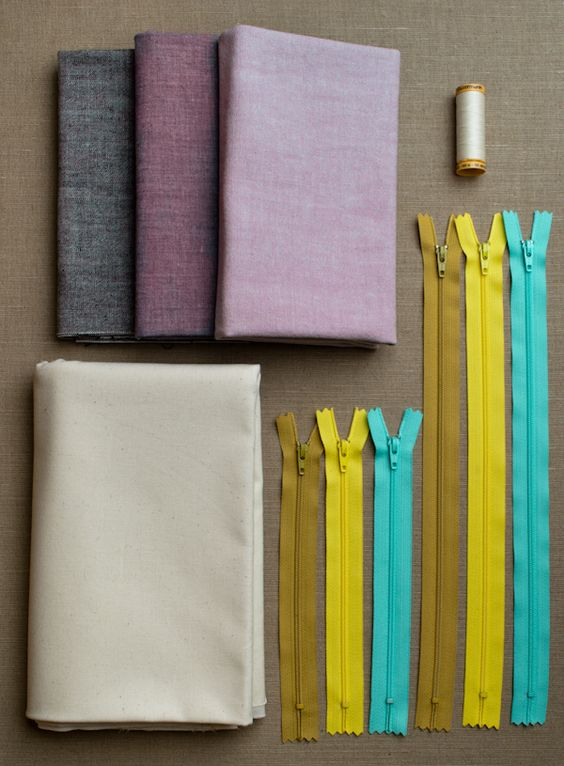 Simple Lined Zipper Pouches - materials