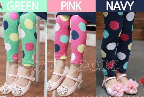 New Kids Toddlers Girls Fashion Round Dot Design Tights Leggings Trousers Pants | eBay