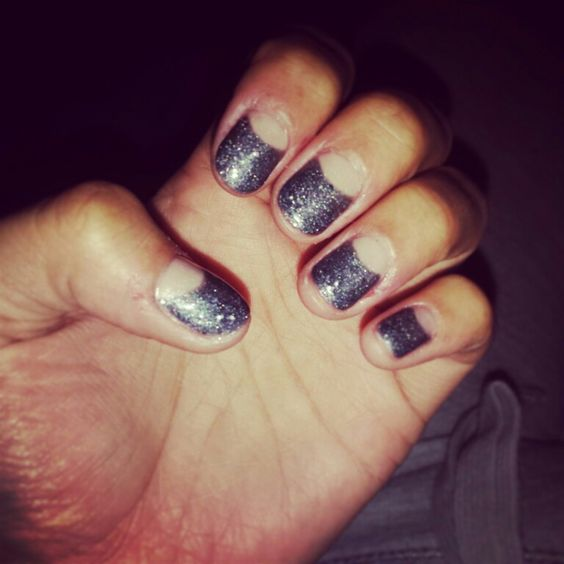 Nude with gray & glitter shellac