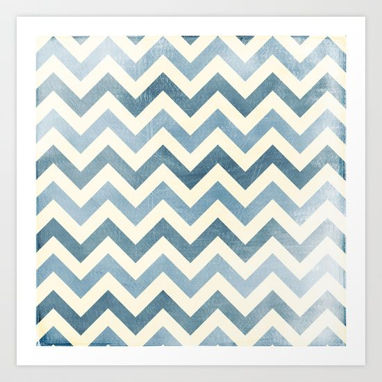 Faded blue Chevron Distressed grunge Art Print by Mercedes - $14.00