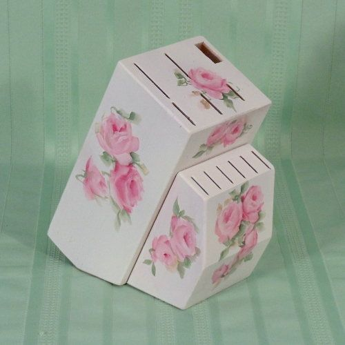 Painted Knife Block: Shabby HP Hand Painted Roses Knife Block Holder Chic